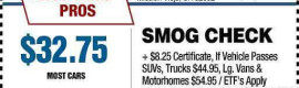 $32.75 DMV Smog with Smog Coupon
